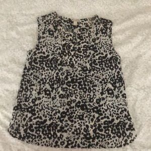 J. Crew split neck leopard tank top
